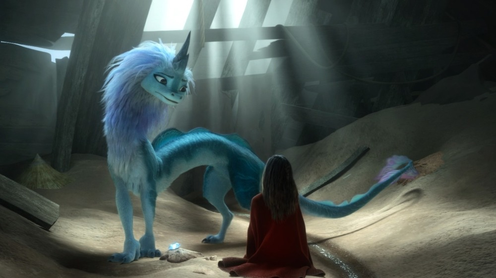 Sisu the dragon in a wreckage