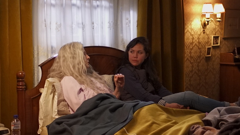 """Robyn Nevin as """"Edna"""" and Director Natalie Erika James on the set of RELIC"""