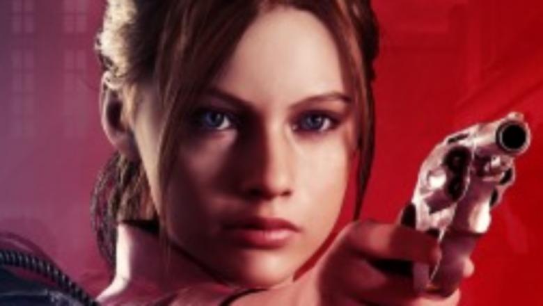 Claire Redfield pointing gun