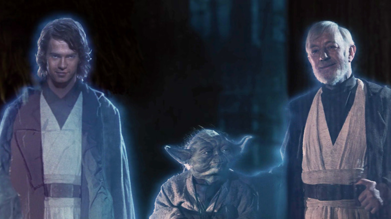 Hayden Christensen, Alec Guinness and Yoda in Return of the Jedi