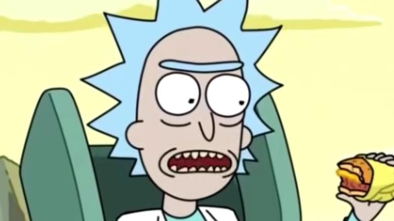 Rick and Morty Holding Cheeseburger