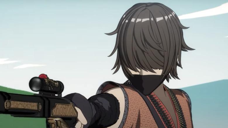 Masked mercenary holding gun