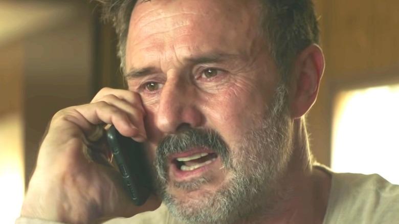 David Arquette upset on the phone