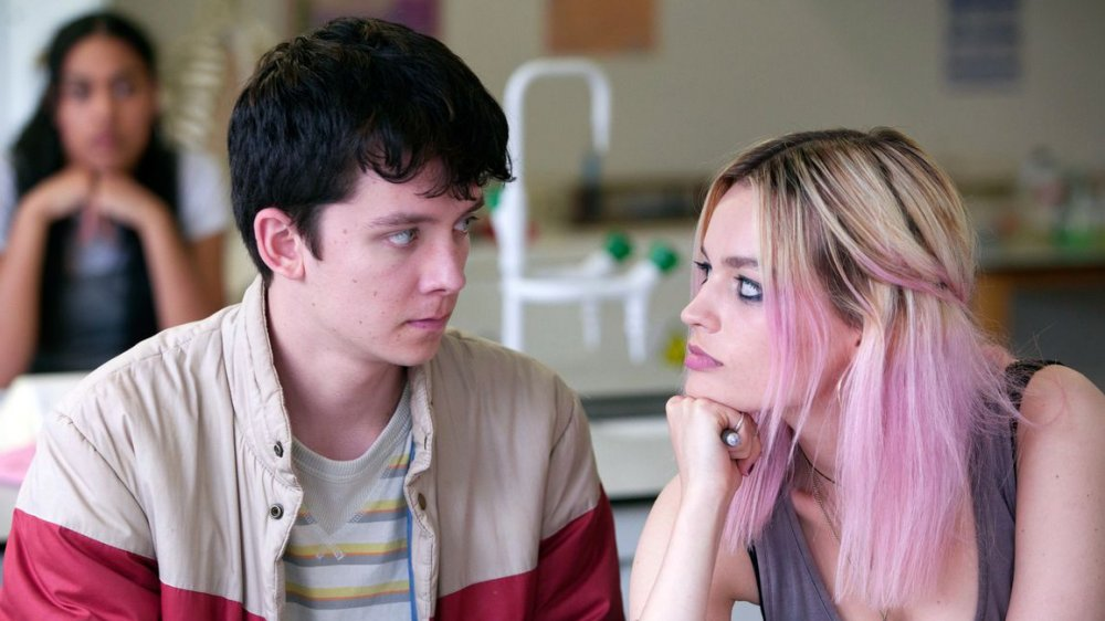 Asa Butterfield and Emma Mackey as Otis and Maeve on Netflix's Sex Education