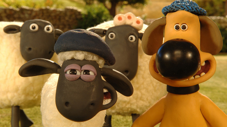Shaun and Blitzer with sheep