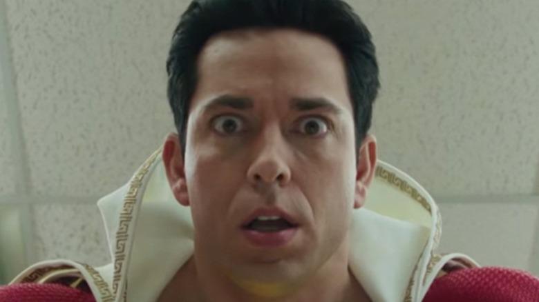 Zachary Levi as Shazam looking surprised