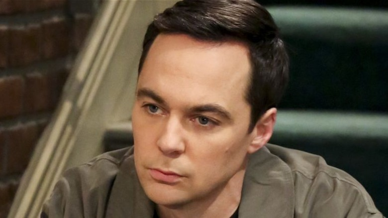 Sheldon sits on the stairs in The Big Bang Theory