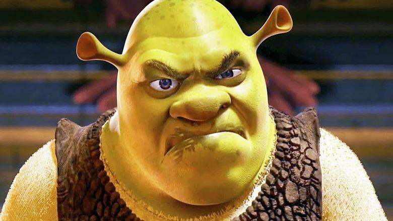 Shrek makes a grumpy face