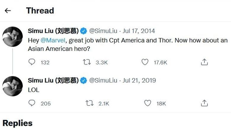 A self-fulfilling Tweet from Simu Liu to Marvel