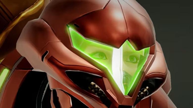 Samus face in Metroid Dread