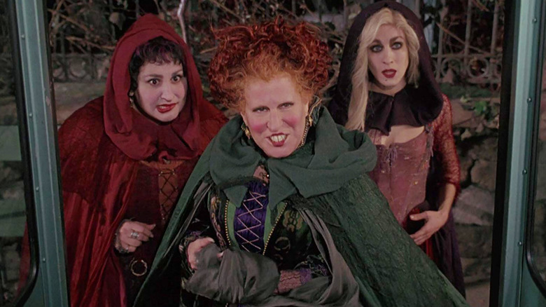 Bette Midler, Kathy Najimy, and Sarah Jessica Parker as the Sanderson sisters in Hocus Pocus