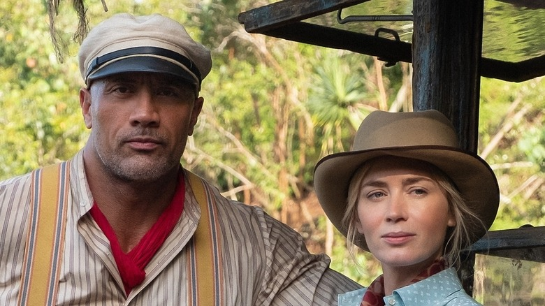 """Dwayne """"The Rock"""" Johnson and Emily Blunt in Jungle Cruise"""