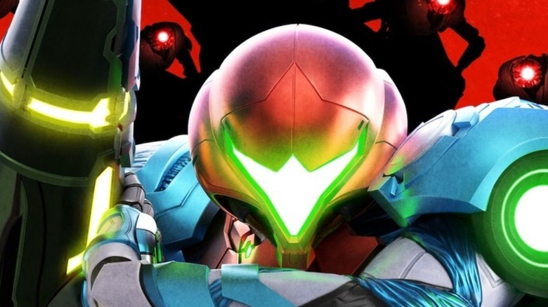 Samus surrounded by EMMI