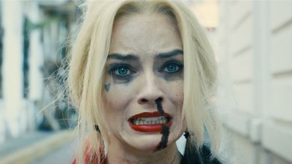 Harley Quinn with blood dripping down her nose The Suicide Squad