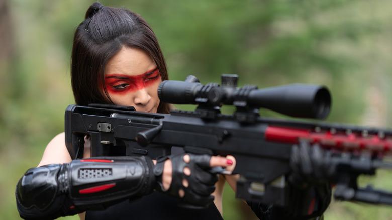 "Sayaka Akimoto as Yuki ""Lady Death"" Mifune in Sniper: Assassin's End"