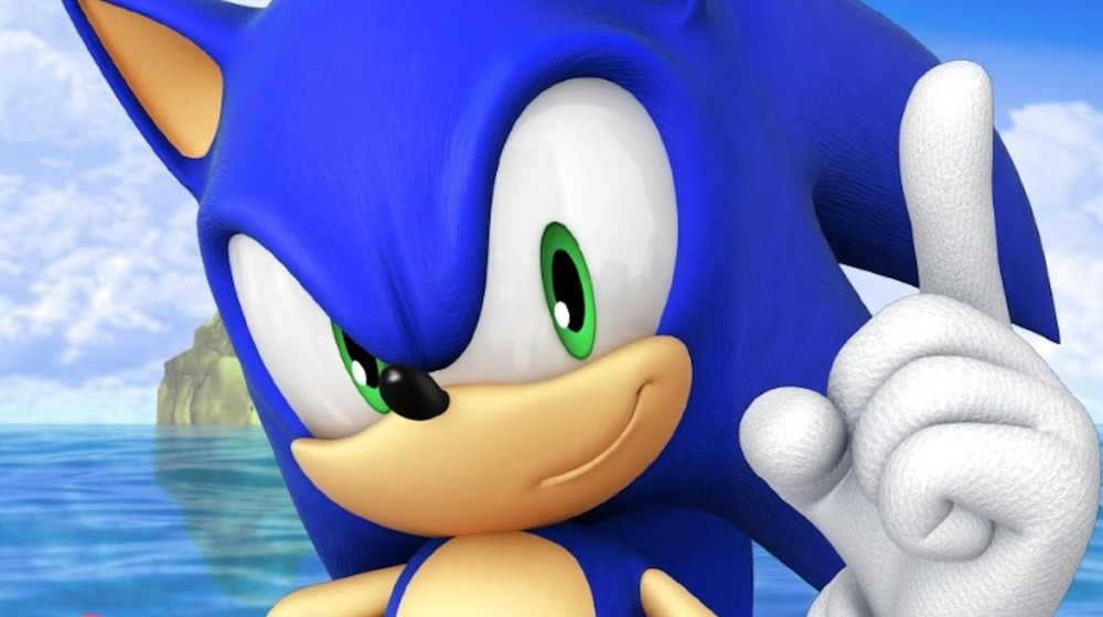 Sonic the Hedgehog pointing his finger