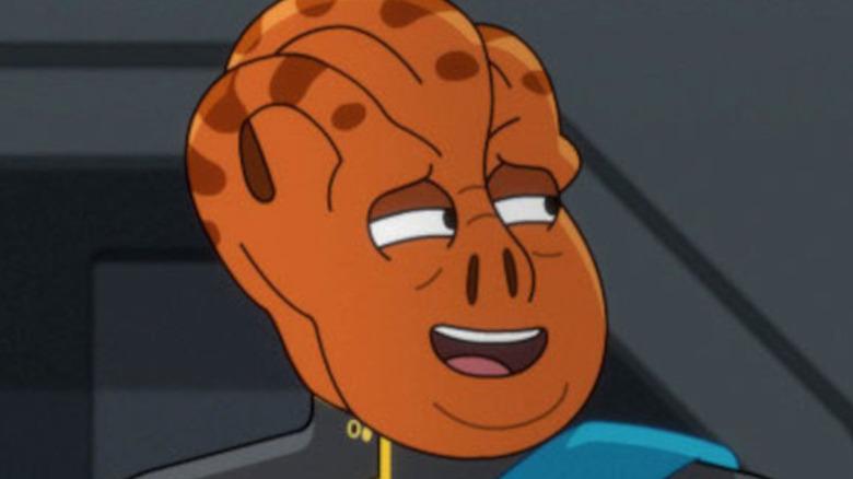 Carl tart as Kayshon smiling on Star Trek: Lower Decks
