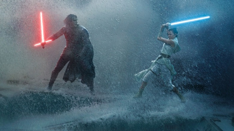 Kylo Ren and Rey fight