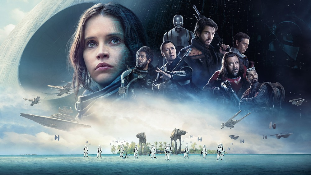 Felicity Jones, Diego Luna, Forest Whitaker, Donnie Yen, Riz Ahmed, and Jiang Wen in Rogue One