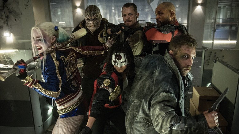 Will Smith, Margot Robbie, Joel Kinnaman, Jai Courtney, Karen Fukuhara and Adewale Akinnuoye-Agbaje in Suicide Squad.