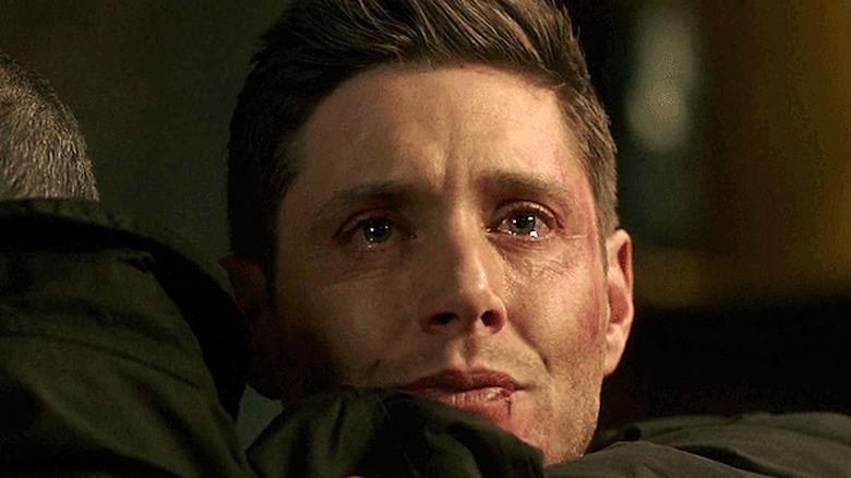 Dean Winchester with tears in eyes