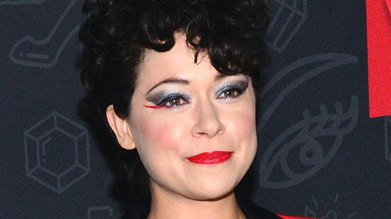 Tatiana Maslany with red eyeliner