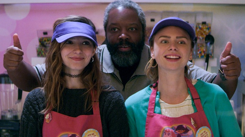 Maddie Phillips, Anjelica Bette Fellini, and Kadeem Hardison as Sterling, Blair, and Bowser on Teenage Bounty Hunters