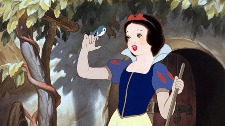 Snow White sings to a bird in Snow White and the Seven Dwarfs