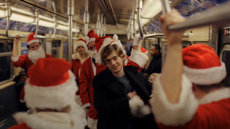 Dash and Santas on subway