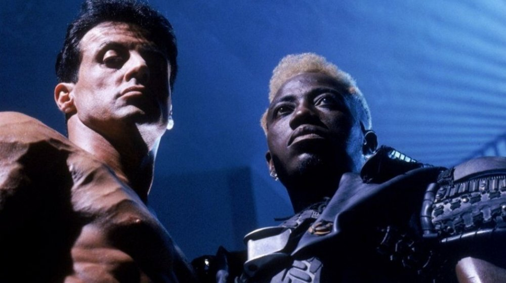 Sylvester Stallone as John Spartan and Wesley Snipes as Simon Phoenix in Demolition Man