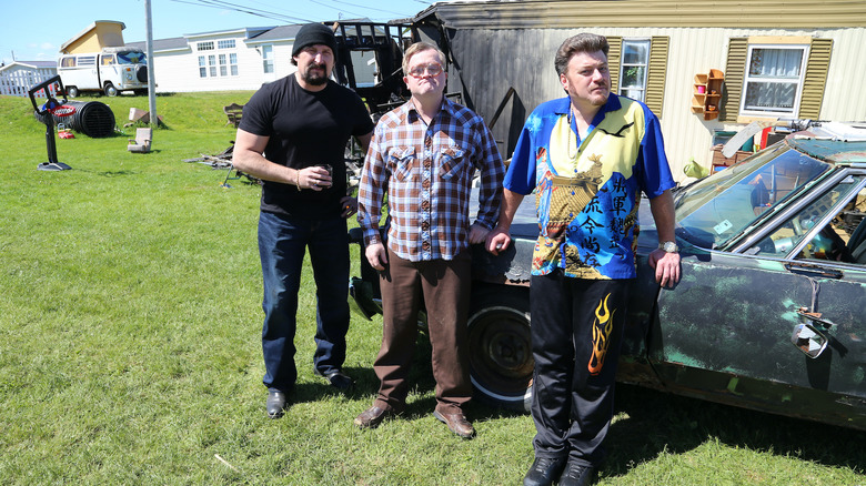 Mike Smith, Robb Wells, and John Paul Tremblay as Bubbles, Ricky, and Julian on Trailer Park Boys