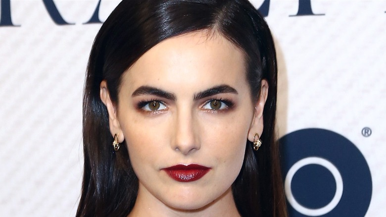 Camilla Belle red carpet red lips