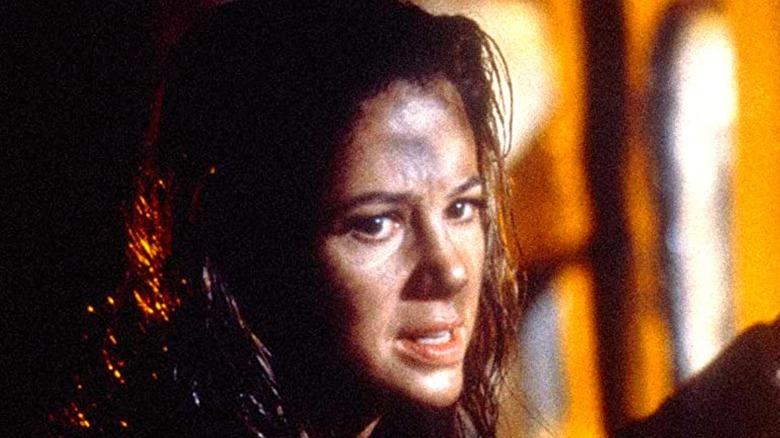 Mira Sorvino looking anxious