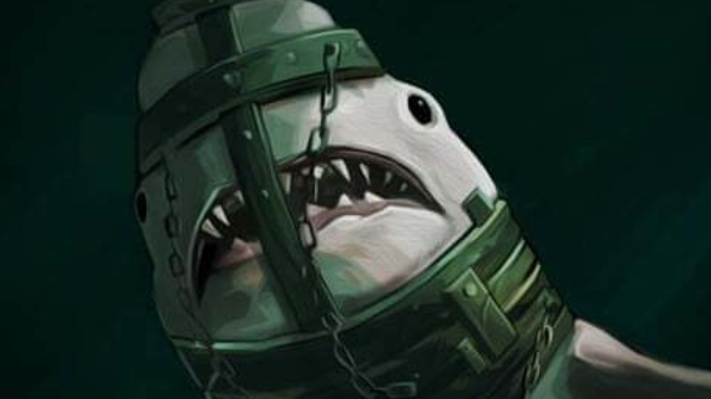 Shark in a cage helmet