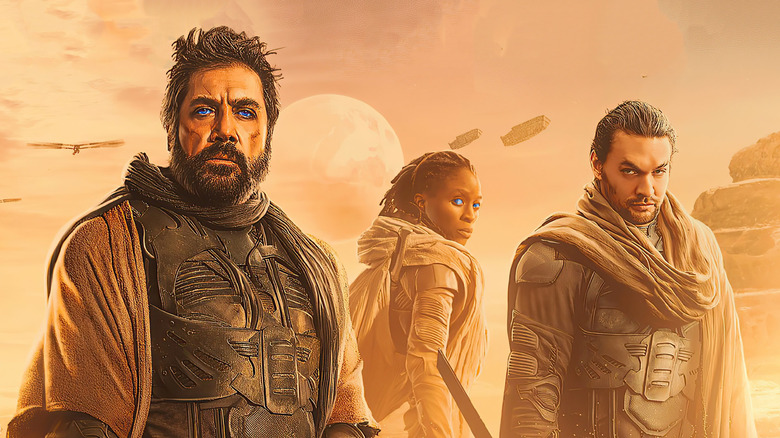 Javier Bardem, Sharon Duncan-Brewster, and Jason Momoa in Dune