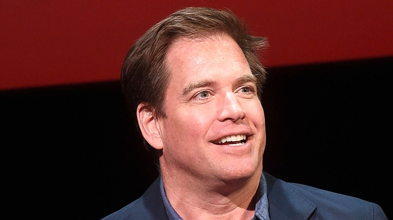 Michael Weatherly smiles and looks outward