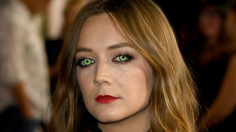 Billie Lourd wearing green contacts