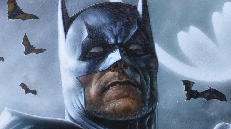 Batman against night sky