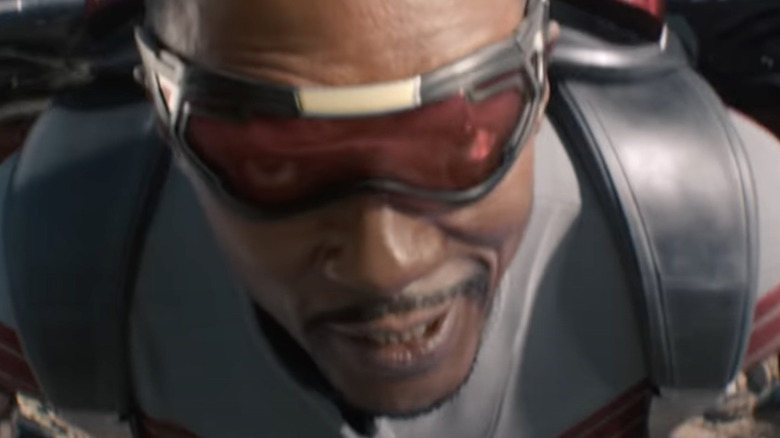Extreme close-up on the Falcon's face when he's flying during the Falcon and Winter Soldier Super Bowl trailer