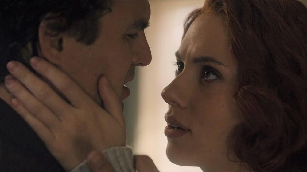 "Mark Ruffalo as Bruce Banner and Scarlett Johansson as Natasha Romanoff in ""Avengers: Age of Ultron"""