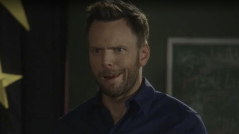 Joel McHale making silly face Community blooper
