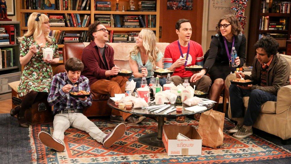 Melissa Rauch, Simon Helberg, Johnny Galecki, Kaley Cuoco, Jim Parson, Mayim Bialik, and Kunal Nayyar, as Bernadette, Howard, Leonard, Penny, Sheldon, Amy, and Raj from The Big Bang Theory