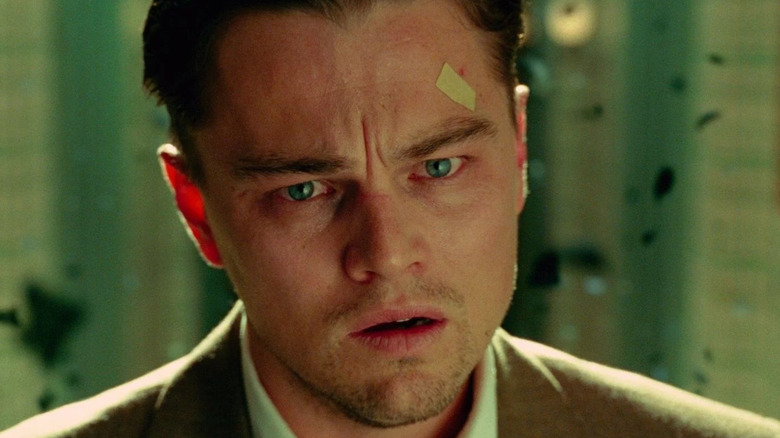 Leonardo DiCaprio Shutter Island bandaid on face