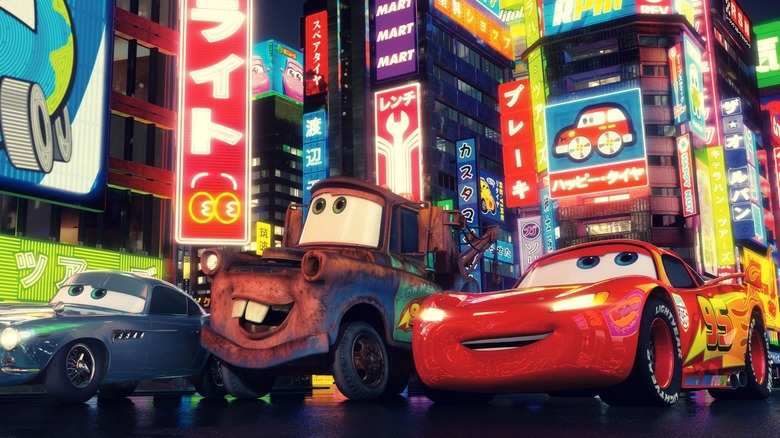 Mater and Lightning McQueen driving