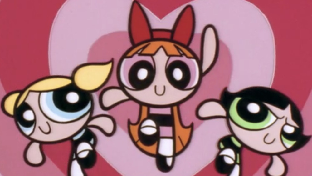 Bubbles, Blossom, and Buttercup in their signature opening title pose