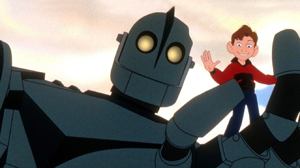 Iron Giant and Hogarth waving