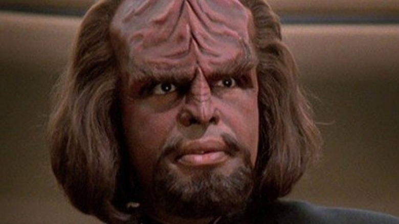 Worf looking into the distance