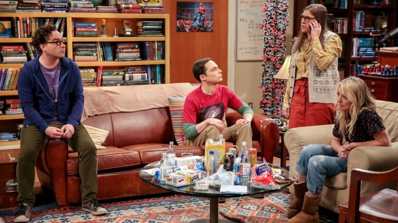Leonard, Sheldon, Penny, and Amy discussing something riveting