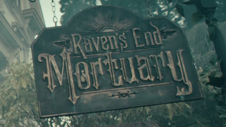 Raven's End Mortuary sign