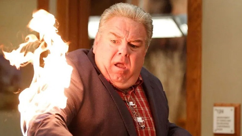 Jerry on fire in Parks and Recreation